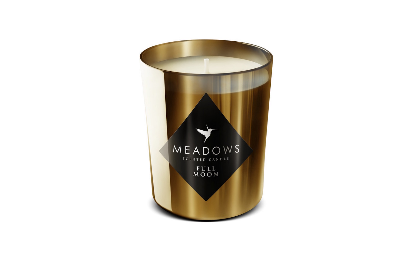 Zlatá svíčka Full Moon od Meadows kombinuje sladký med, vzácná dřeva a smyslné tóny kůže.