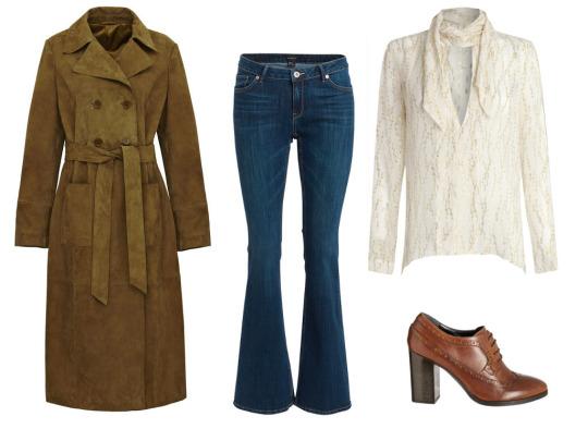 Semišový kabát, Mark & Spencer; tmavě modré džíny, Lindex; halenka s vázačkou Star by Julien MacDonald, prodává Debenhams; kožené boty na širokém podpatku, Debenhams
